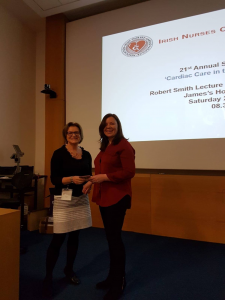 Kelly Huish, UHW, receiving prize for best joint winner in Staff Nurse presentations